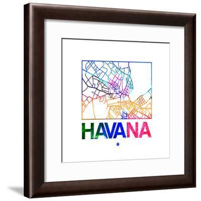 Havana Watercolor Street Map-NaxArt-Framed Premium Giclee Print