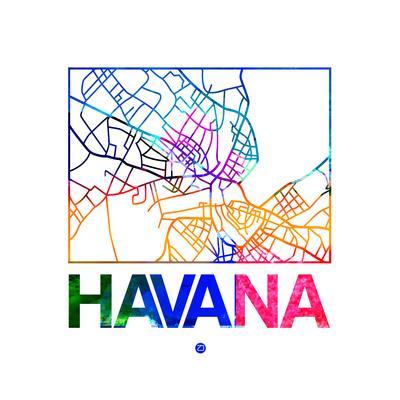 graphic relating to Printable Map of Havana named Havana Watercolor Road Map Artwork Print by way of NaxArt