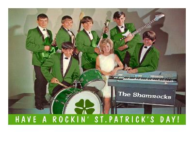 Have a Rockin St. Patricks Day, School Rock Band--Art Print