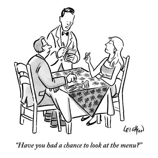 """Have you had a chance to look at the menu?"" - New Yorker Cartoon-Robert Leighton-Premium Giclee Print"