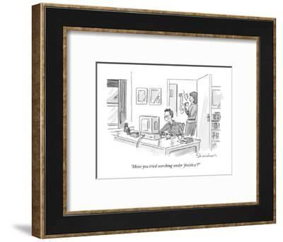 """""""Have you tried searching under 'fruitless'?"""" - New Yorker Cartoon-Danny Shanahan-Framed Premium Giclee Print"""