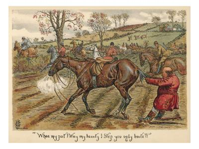 Having Fallen Off His Horse, Mr Popple Grabs it by the Tail to Stop it from Running Away--Giclee Print
