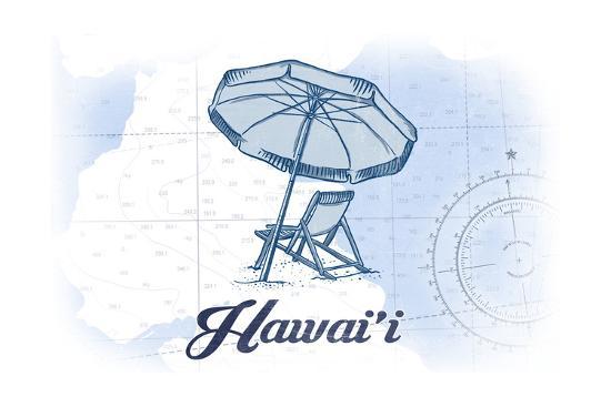 Hawaii - Beach Chair and Umbrella - Blue - Coastal Icon-Lantern Press-Art Print