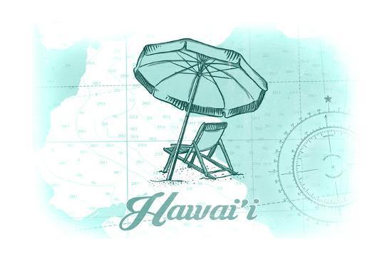 Hawaii - Beach Chair and Umbrella - Teal - Coastal Icon-Lantern Press-Art Print