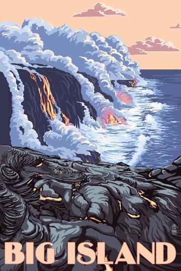 Hawaii - Big Island - Lava Flow Scene-Lantern Press-Art Print