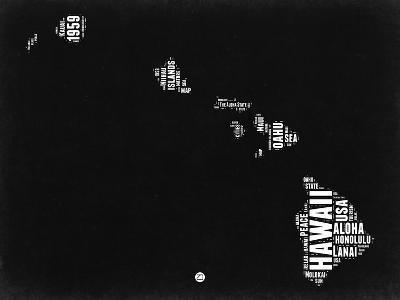 Hawaii Black and White Map-NaxArt-Art Print