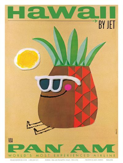 Hawaii by Jet - Pan American Airlines (PAA) - Mr. Pineapple Head-Phillips-Art Print