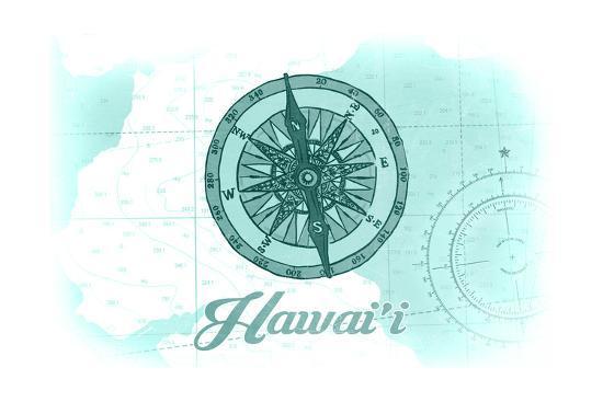 Hawaii - Compass - Teal - Coastal Icon-Lantern Press-Art Print