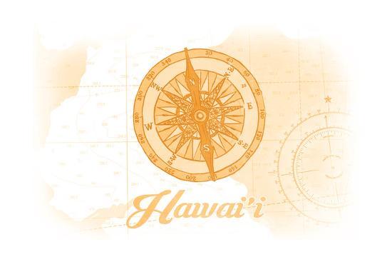 Hawaii - Compass - Yellow - Coastal Icon-Lantern Press-Art Print