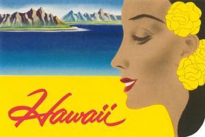 Hawaii, Graphic of Diamond Head and Woman