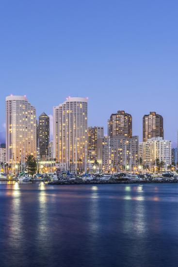 Hawaii, Honolulu, Twilight Waikiki Skyline-Rob Tilley-Photographic Print