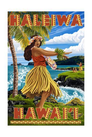 Hawaii Hula Girl on Coast - Haleiwa, Hawaii-Lantern Press-Art Print