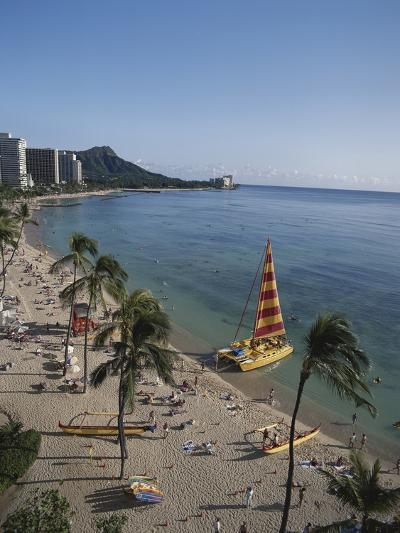 Hawaii Islands, Oahu, Waikiki, View of Waikiki Beach-Douglas Peebles-Photographic Print