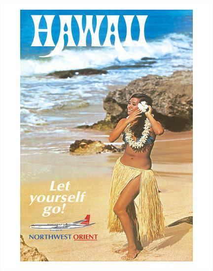 Hawaii - Let Yourself Go! - Hula Girl on the Beach - Northwest Orient Airlines-Pacifica Island Art-Giclee Print