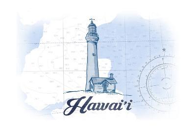 Hawaii - Lighthouse - Blue - Coastal Icon-Lantern Press-Art Print