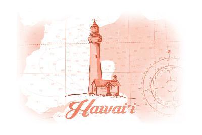 Hawaii - Lighthouse - Coral - Coastal Icon-Lantern Press-Art Print