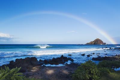 Hawaii, Maui, Hana, Dramatic Coastline, Rainbow over Ocean-Design Pics Inc-Photographic Print
