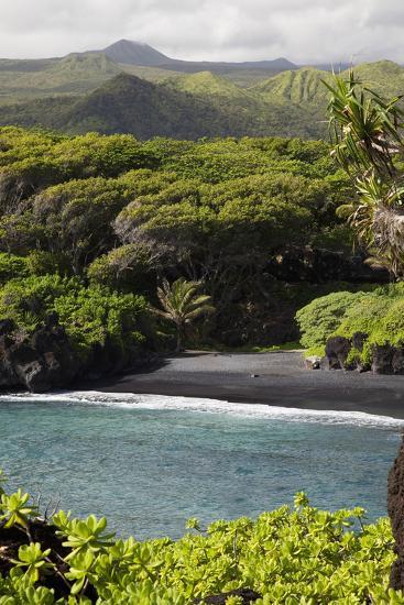 Hawaii, Maui, Hana, the Black Sand Beach of Waianapanapa-Design Pics Inc-Photographic Print