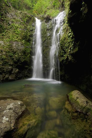Hawaii, Maui, Makamakaole Gulch, Waihee Ridge Trail, Waterfall and Pond-Design Pics Inc-Photographic Print
