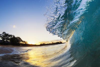 Hawaii, Maui, Makena, Beautiful Blue Ocean Wave Breaking at the Beach at Sunrise-Design Pics Inc-Photographic Print