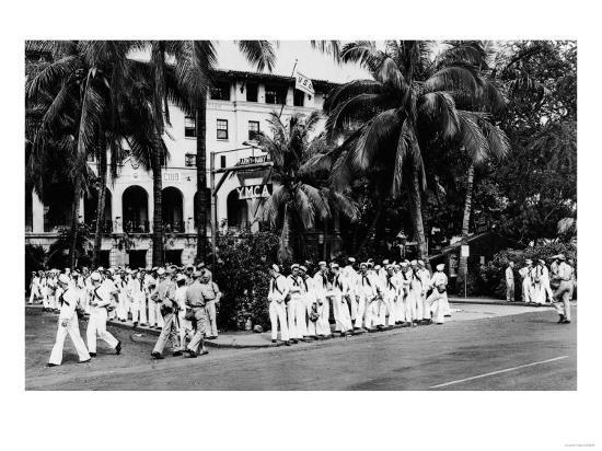 Hawaii - Navy Boys Waiting for Bus Outside YMCA Photograph-Lantern Press-Art Print