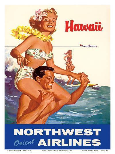 Hawaii - Northwest Orient Airlines--Art Print