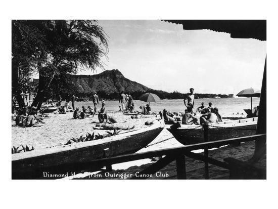 Hawaii - O'ahu Island; Diamond Head from Outrigger Canoe Club-Lantern Press-Art Print