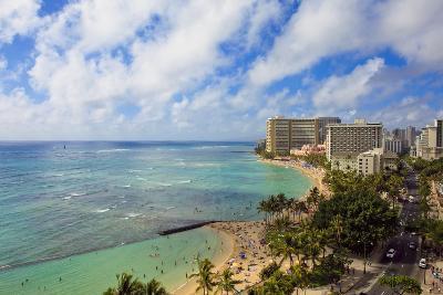 Hawaii, Oahu, Waikiki, View of the Pacific Ocean, Waikiki Beach, and Famous Hotels-Design Pics Inc-Photographic Print