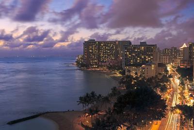 Hawaii, Oahu, Waikiki, View of Waikiki at Night-Design Pics Inc-Photographic Print