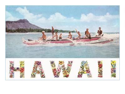Hawaii, Outrigger at Diamond Head--Art Print
