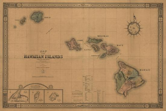 Hawaii - Panoramic State Map-Lantern Press-Stretched Canvas Print