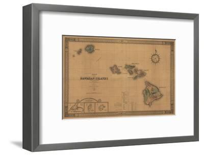 Hawaii - Panoramic State Map-Lantern Press-Framed Art Print