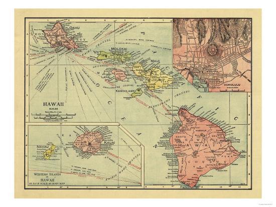 Hawaii - Panoramic State Map-Lantern Press-Art Print