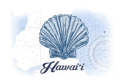 Hawaii - Scallop Shell - Blue - Coastal Icon-Lantern Press-Art Print