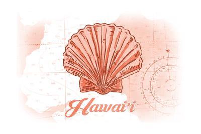 Hawaii - Scallop Shell - Coral - Coastal Icon-Lantern Press-Art Print