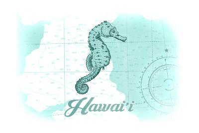Hawaii - Seahorse - Teal - Coastal Icon-Lantern Press-Art Print