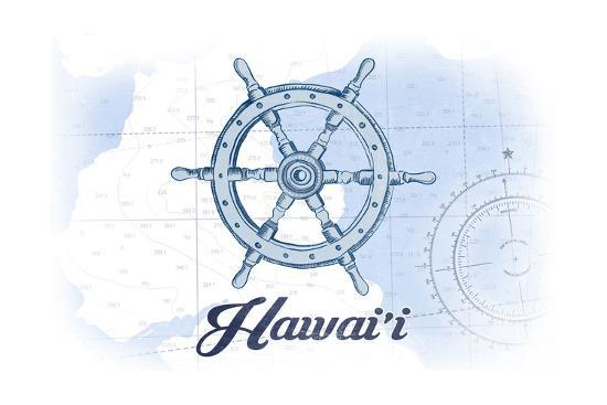 Hawaii - Ship Wheel - Blue - Coastal Icon-Lantern Press-Art Print