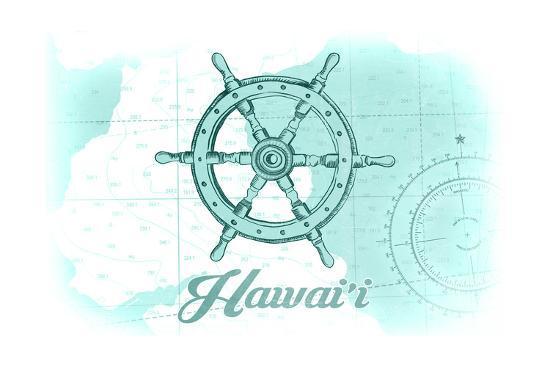 Hawaii - Ship Wheel - Teal - Coastal Icon-Lantern Press-Art Print