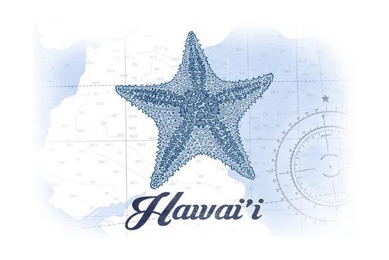 Hawaii - Starfish - Blue - Coastal Icon-Lantern Press-Art Print
