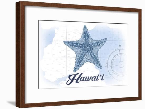 Hawaii - Starfish - Blue - Coastal Icon-Lantern Press-Framed Art Print