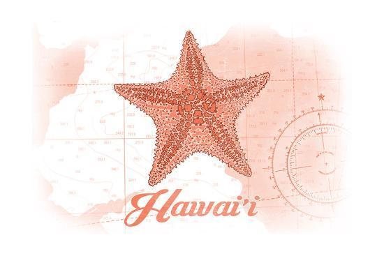 Hawaii - Starfish - Coral - Coastal Icon-Lantern Press-Art Print