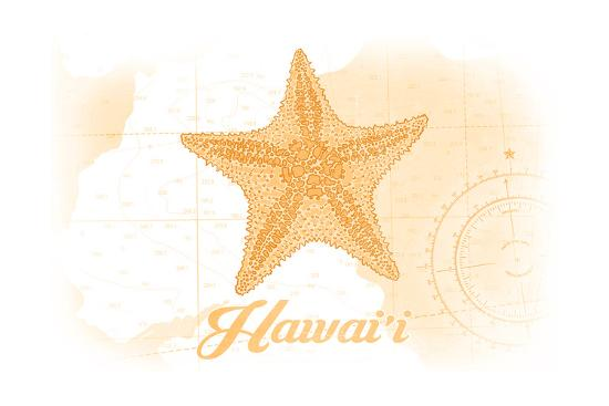Hawaii - Starfish - Yellow - Coastal Icon-Lantern Press-Art Print