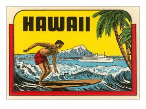 Hawaii, Surfer at Diamond Head, Cruise Ship