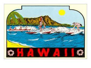 Hawaii, Surfers at Diamond Head
