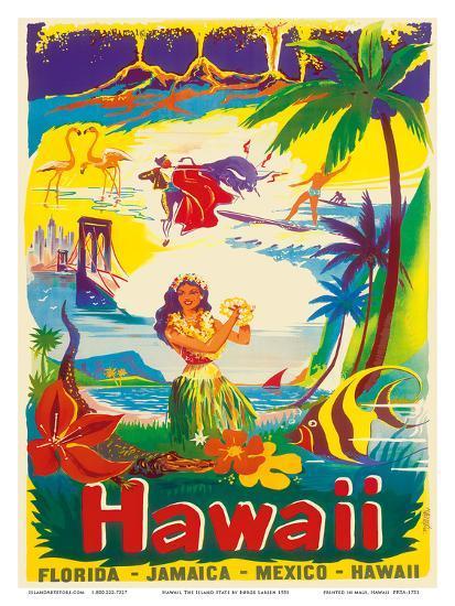 Hawaii, The Island State-B?rge Larsen-Art Print