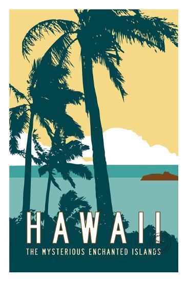 Hawaii Travel Poster-Michael Jon Watt-Giclee Print