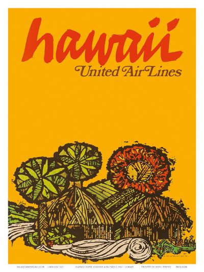 Hawaii - United Air Lines - Native Hawaiian Grass Huts-Jebray-Art Print