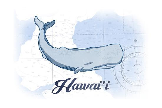 Hawaii - Whale - Blue - Coastal Icon-Lantern Press-Art Print