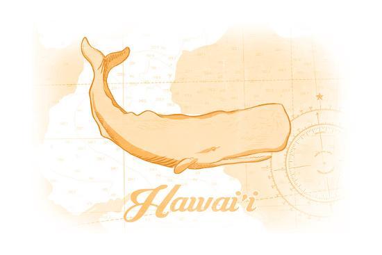 Hawaii - Whale - Yellow - Coastal Icon-Lantern Press-Art Print