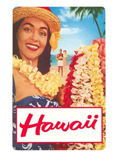Hawaii, Woman with Frangipani Leis--Art Print